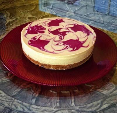Raspberry Swirl Vegan Cheesecake