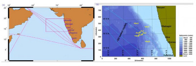 LEFT: The shipping lines running parallel to Goa's coastline  RIGHT: The site of NIO study where hundreds of insoluble steel balls were offloaded into the sea suspected of ships cleaning up their hulls off crude oil